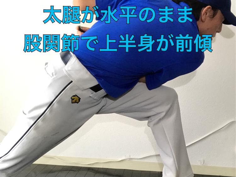 太腿が水平なまま、股関節で上半身を前傾させる良い形
